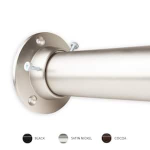 1.5 in. Dia Adjustable 66 in. 115 in. Room Divider Single Rod and Socket Set in Satin Nickel