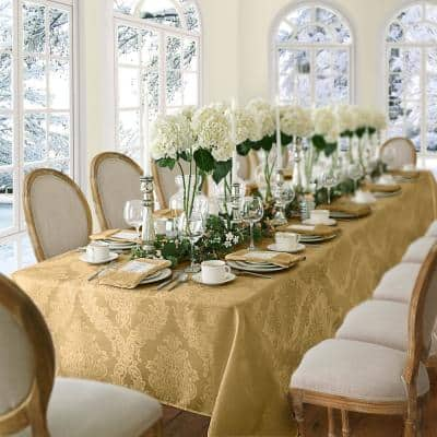 60 in. W x 84 in. L OvaL Gold Barcelona Damask Fabric Tablecloth