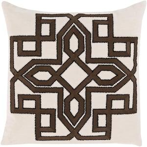Mahesh Khaki Geometric Polyester 18 in. x 18 in. Throw Pillow