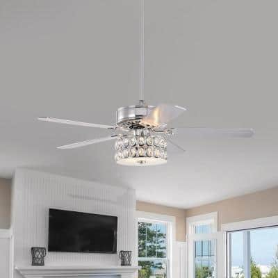 Danae 52 in. Chrome Ceiling Fan with Light and Remote Control