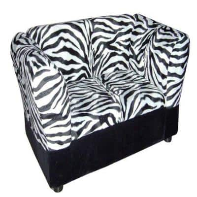 16.75 in. H Zebra Sofa Bed with Storage Pet Furniture Bed