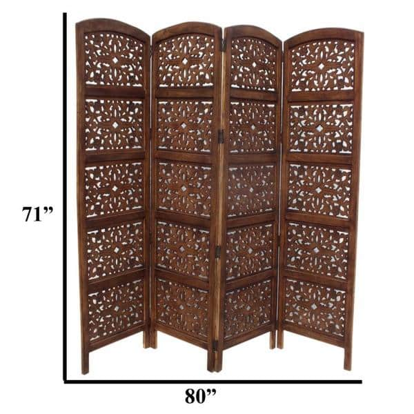 The Urban Port Handmade Foldable 4 Panel Brown Wooden Partition Screen Room Divider Upt 148948 Home Depot