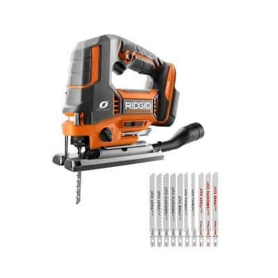 18V OCTANE Brushless Cordless Jig Saw (Tool Only) with All Purpose Jig Saw Blade Set (10-Piece)