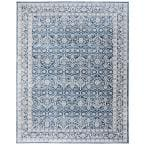 Brentwood Navy/Light Gray 9 ft. x 12 ft. Geometric Floral Border Area Rug