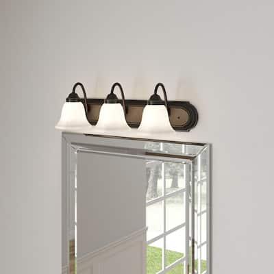 24 in. 3-Light Antique Bronze Bathroom Vanity Light with Alabaster Glass