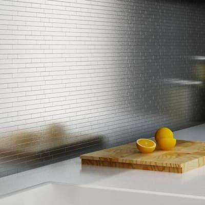 Linox Stainless Steel 12.09 in. x 11.97 in. x 5 mm Brushed Metal Self-Adhesive Wall Mosaic Tiles