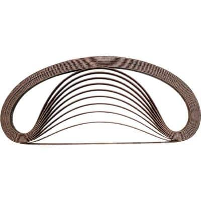 3/8 in. x 21 in. 80-Grit Abrasive Belt (10-Pack), Compatible With Belt Sanders