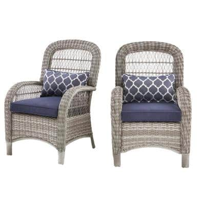 Beacon Park Gray Wicker Outdoor Patio Captain Dining Chair with CushionGuard Midnight Trellis Navy Blue Cushions(2-Pack)
