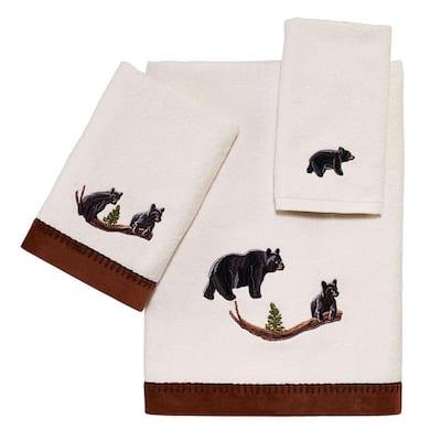3-Piece Ivory Black Bear Lodge Cotton Towel Set