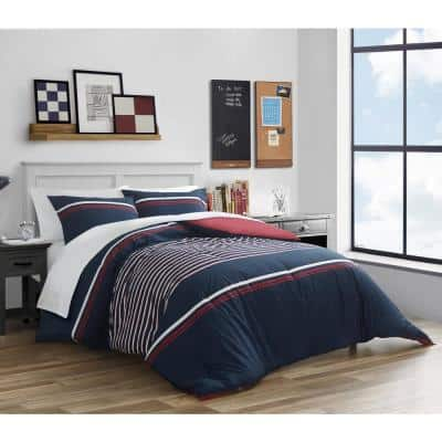 Mineola 3-Piece Navy Blue Striped Cotton King Duvet Cover Set