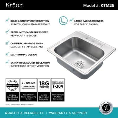 Drop-In Stainless Steel 25 in. 3-Hole Single Bowl Kitchen Sink Kit