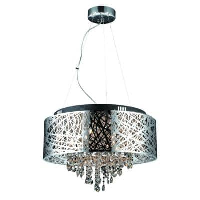 Decor Living Chrome Crystal Chandeliers Lighting The Home Depot