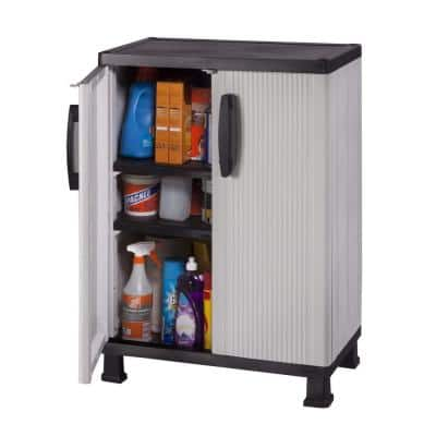 Plastic Freestanding Garage Cabinet in Gray (27 in. W x 36 in. H x 15 in. D)