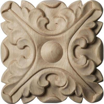 5/8 in. x 4-1/4 in. x 4-1/4 in. Unfinished Wood Alder Acanthus Rosette