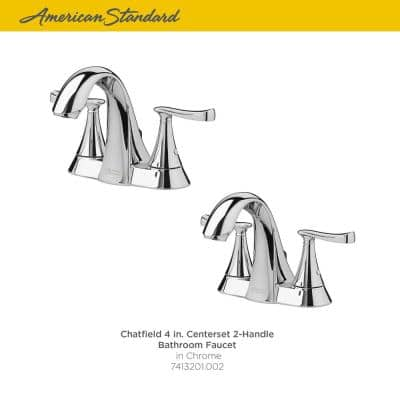 Chatfield 4 in. Centerset 2-Handle Bathroom Faucet in Polished Chrome (Set of 2)