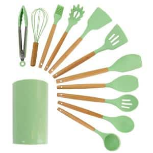 Mint Green Silicone and Wood Cooking Utensils (Set of 12)