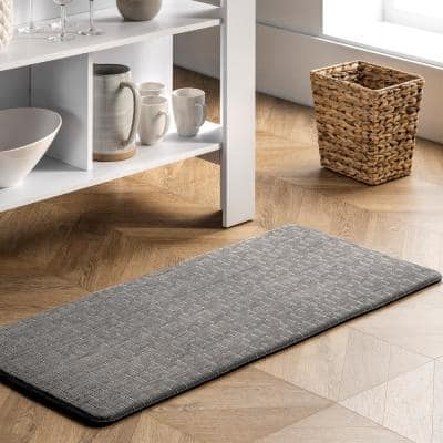 Casual Crosshatched Anti Fatigue Kitchen or Laundry Room Silver 18 in. x 30 in. Indoor Comfort Mat