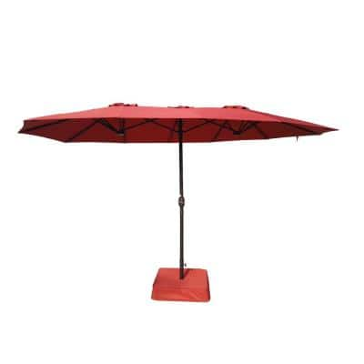 8.8 ft. x 14 ft. Triple Vent Outdoor Patio Umbrella in Red with Sand Bag Base