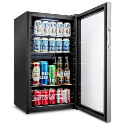 19 in. 126 Can Freestanding Beverage Cooler Refrigerator with Adjustable Shelves - Stainless Steel