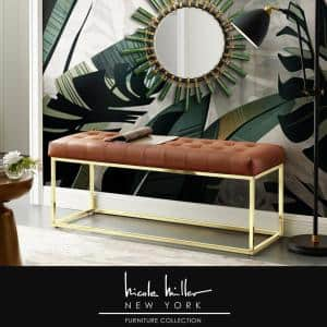 Koa Camel Brown/Gold PU Leather Bench with Button Tufted Metal Frame
