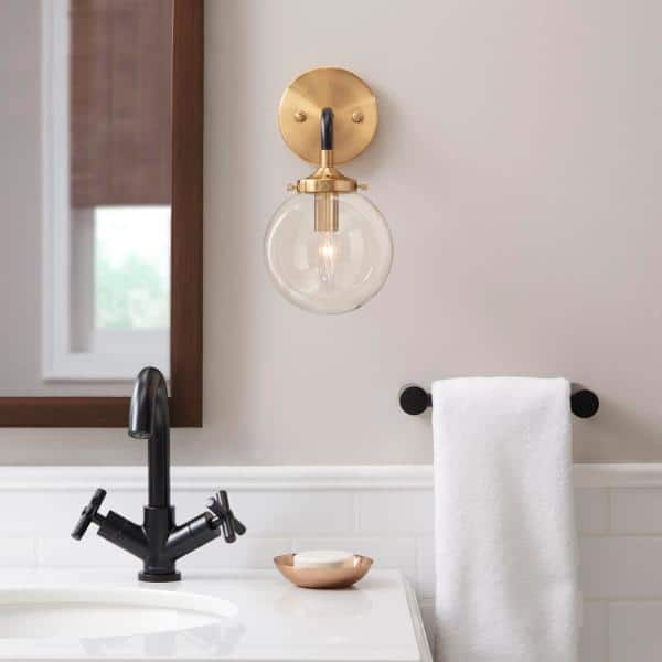 Home Decorators Collection - 1-Light Matte Black and Antique Gold Wall Sconce
