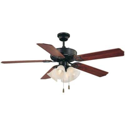 52 in. 4-Light Antique Bronze Ceiling Fan with Light and Reversible Rosewood/Walnut Blades and Alabaster Glass Shades