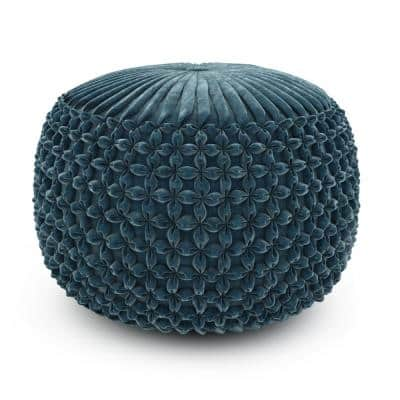Arnett Teal Velvet Transitional Round Pouf