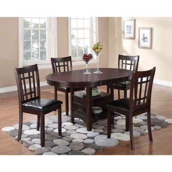 Espresso Brown Wooden Dining Table With, Dining Room Table With Storage