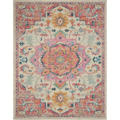 Passion Ivory/Pink 9 ft. x 12 ft. Medallion Traditional Area Rug