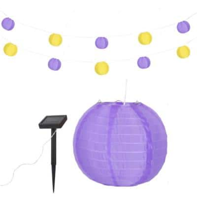 Team XL Outdoor 32 ft. (384 in.) Solar Lantern LED String Light with 10-Light Nylon Purple and Yellow Lanterns