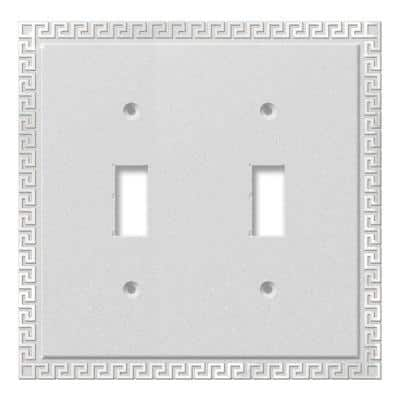 Greek Key 2 Gang Toggle Metal Wall Plate - Frosted Chrome