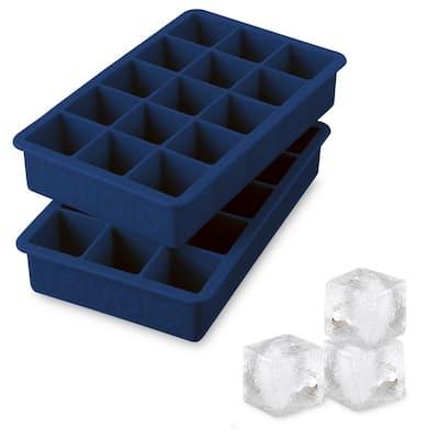Perfect Cube Silicone Ice Mold Freezer Tray 1.25 Cubes for Whiskey, Bourbon, Spirits & Liquor, 2-Piece Set, Deep Indigo