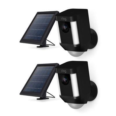 Spotlight Cam Solar Outdoor Security Wireless Standard Surveillance Camera in Black (2-pack)