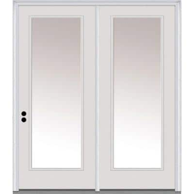 64 in. x 80 in. Clear Glass Primed Steel Prehung Right-Hand Inswing Full Lite Stationary Patio Door
