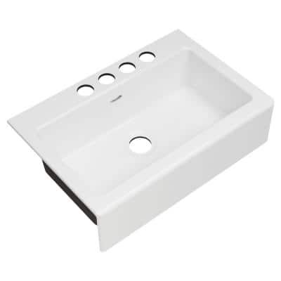 Delancey Farmhouse Apron Front Cast Iron 33 in. 4-Hole Single Bowl Kitchen Sink in Brilliant White