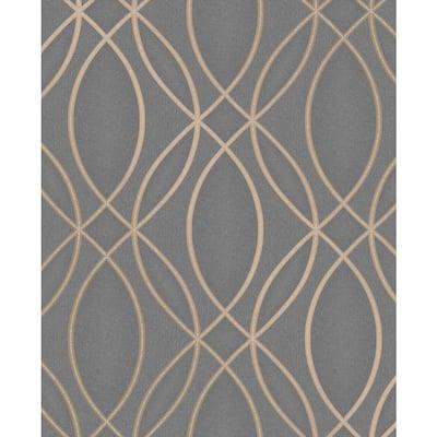 Lisandro Taupe Geometric Lattice Taupe Wallpaper Sample