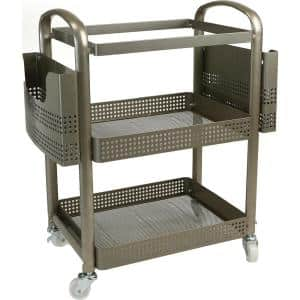 2-Tier Heavy Duty Metal 4-Wheeled Mobile File Cart in Silver