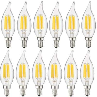 60-Watt Equivalent CA11 Dimmable Clear Flame Tip Filament LED Light Bulb in Warm White 2700K (12-pack)