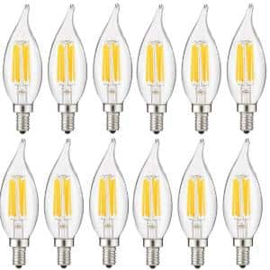 60-Watt Equivalent CA11 Dimmable Clear Filament Flame Tip Candle LED Light Bulb in Daylight 5000K (12-Pack)