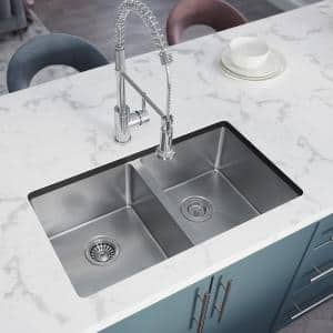 Stainless Steel 31 in. Double Bowl Undermount Kitchen Sink with Black SinkLink