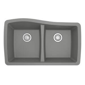 Undermount Quartz Composite 33 in. 50/50 Double Bowl Kitchen Sink in Grey