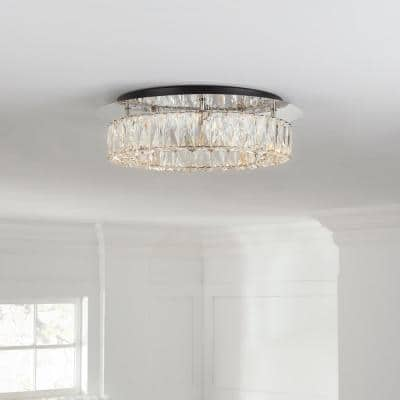 Keighley Crystal 100-Watt Polished Chrome Integrated LED Flush Mount