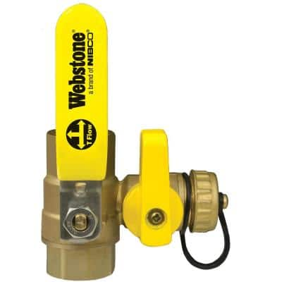 1/2 in. Forged Brass Lead-Free IPS Full Port Ball Valve FIP with Hi-Flow Hose Drain & Reversible Handle