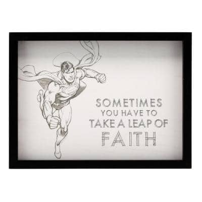 "12 in. x 16 in. ""Superman: Leap of Faith"" Framed Wood Wall Art"