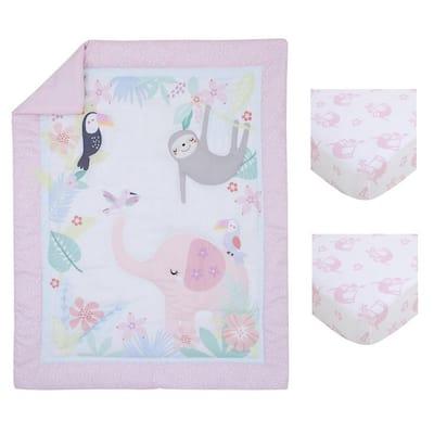 3-Piece Tropical Garden Pink, Green and White Jungle Animal Mini Crib Bedding Set