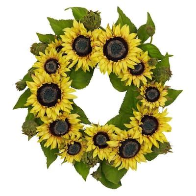 22.0 in. H Yellow Sunflower Wreath