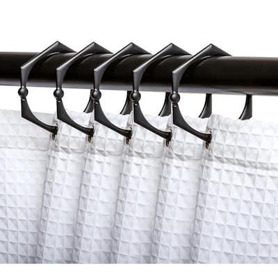 Rustproof Zinc Shower Curtain Hooks and Rings for Bathroom in Matte Black (12-Set)
