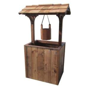 Brown Wooden Wishing Well Planter