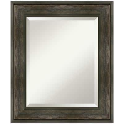 Amanti Art Medium Rectangle Rail Rustic Char Beveled Glass Casual Mirror 30 25 In H X 24 25 In W Dsw4960843 The Home Depot
