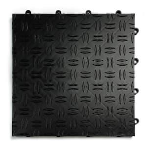 12 in. x 12 in. Diamond Black Modular Tile Garage Flooring (24-Pack)